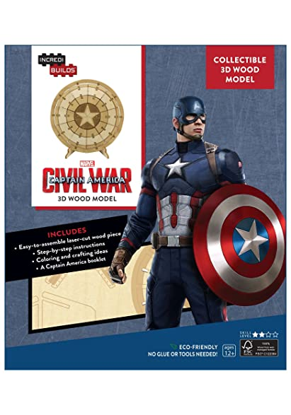 Captain America Shield 3D Wood Model U0026 Booklet Standard