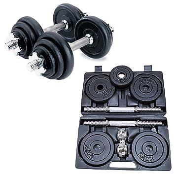 Sporteq Hierro Fundido Cromado sólido Ajustable mancuerna Caja – 5 kg, 10 kg, 15