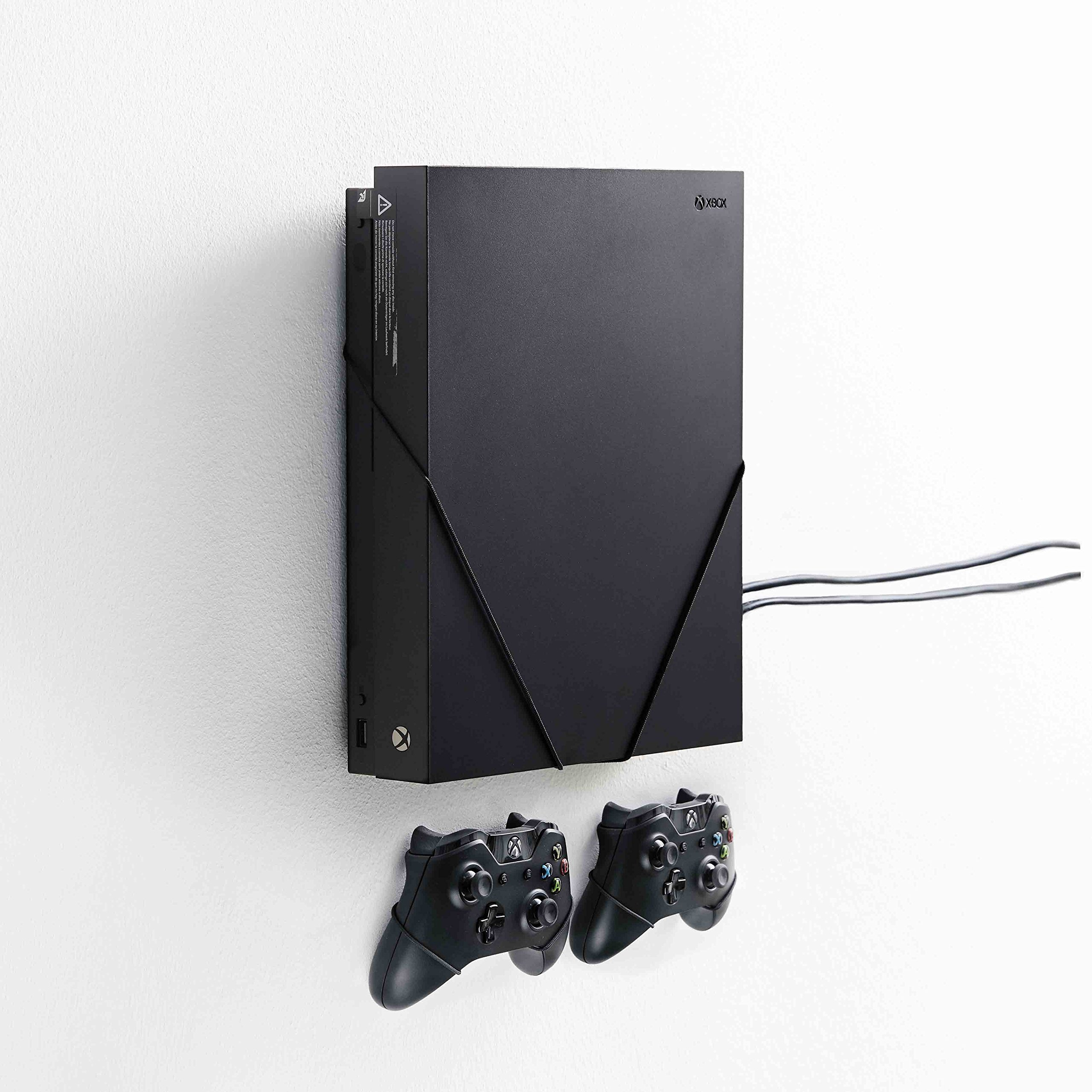 FLOATING GRIP mounts for Xbox One X, bundle package for Xbox One X and controllers, vertical rope wall mounts (black), Patent pending and proprietary design, Made in Denmark
