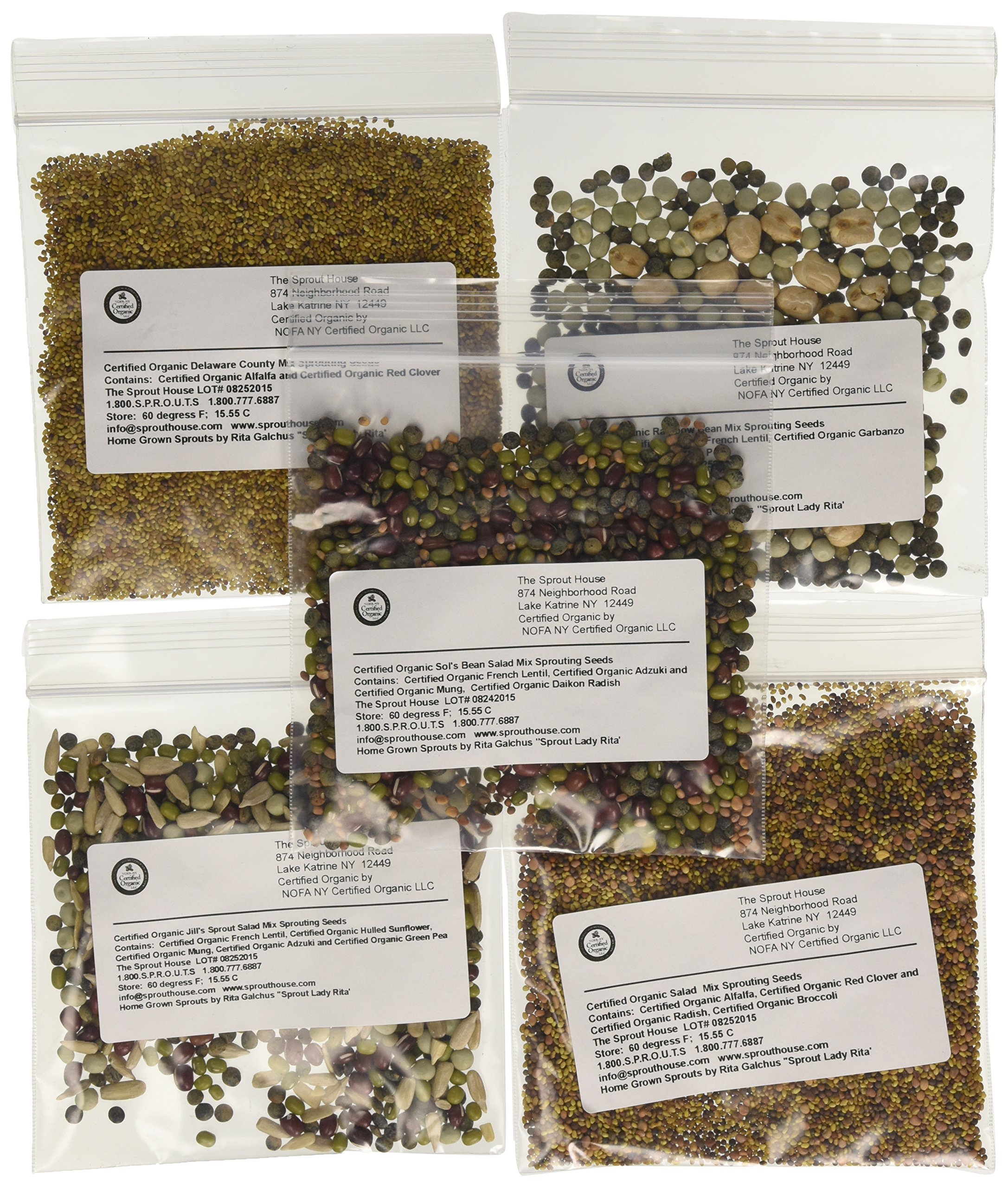 The Sprout House Assorted Organic Sprouting Seeds Mixes Sample, Pack of 12 by The Sprout House