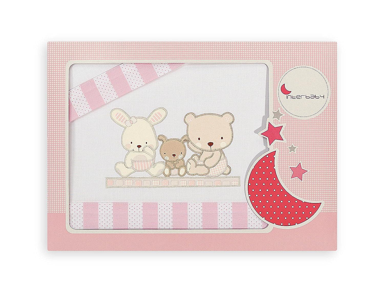 Interbaby Love - Juego de sábanas para coche, color blanco/rosa 02100-12