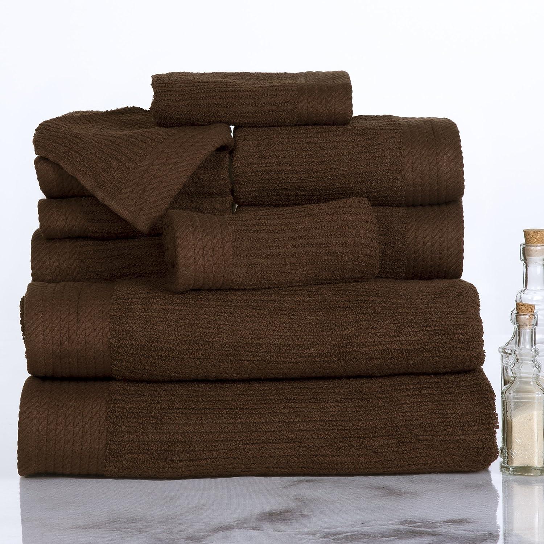 Lavish Home Ribbed 100% Cotton 10 Piece Towel Set - Chocolate