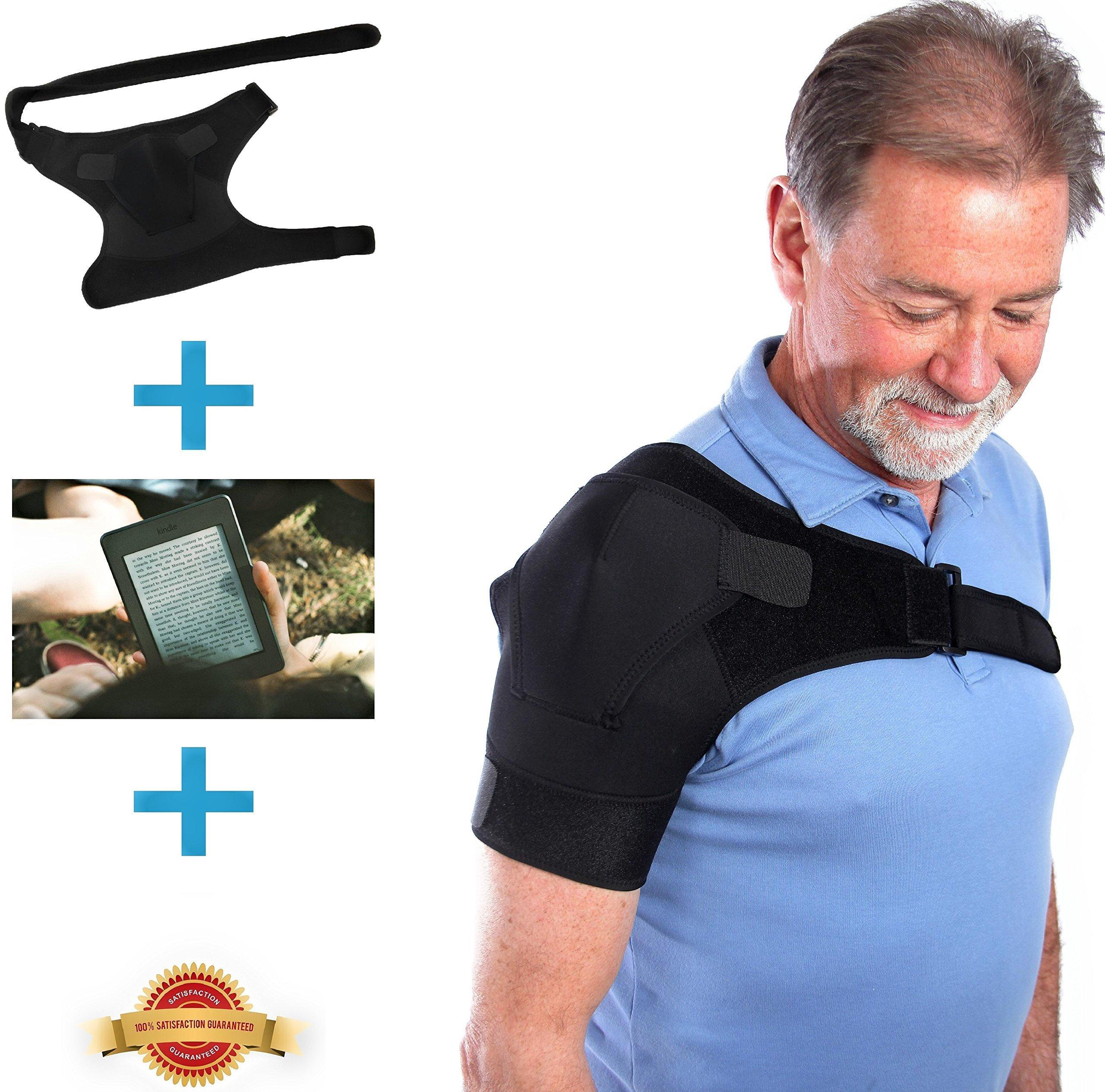 Fully Adjustable Shoulder Stability Brace for Your Injured Shoulder, Free eBook Included, Hot/Cold Pack Pocket, Unisex Shoulder Brace for Rotator Cuff, AC Joint, Instability, Tendonitis, Arthritis