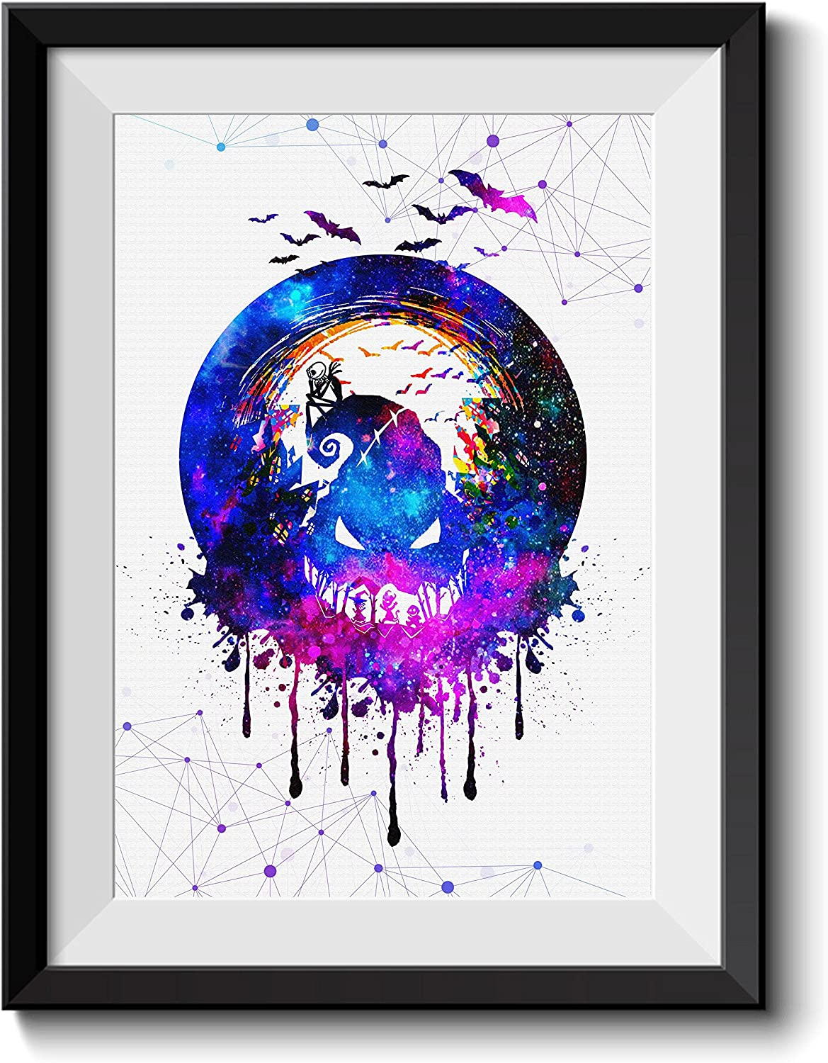 Uhomate Jack and Sally Nightmare Before Christmas Home Canvas Prints Wall Art Anniversary Gifts Baby Gift Inspirational Quotes Wall Decor Living Room Bedroom Bathroom Artwork C027 (13X19)