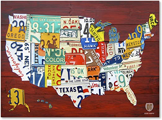 Amazon Com License Plate Map Usa By Design Turnpike 35x47 Inch Canvas Wall Art Posters Prints