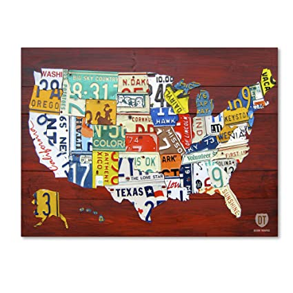 License Plate Map USA by Design Turnpike, 24x32-Inch Canvas Wall Art