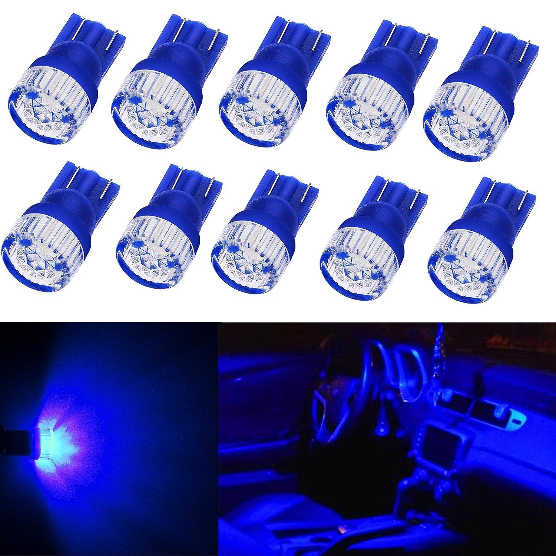 Alla Lighting 10pcs 2W High Power Super Bright 194 168 2825 175 W5W LED Bulbs - Ultra Blue Miniature T10 Wedge SMD LED Lights