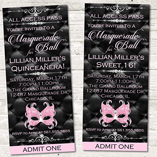 Masquerade Party Ticket Invitations Birthday Decor Sweet 16 Supplies Ball