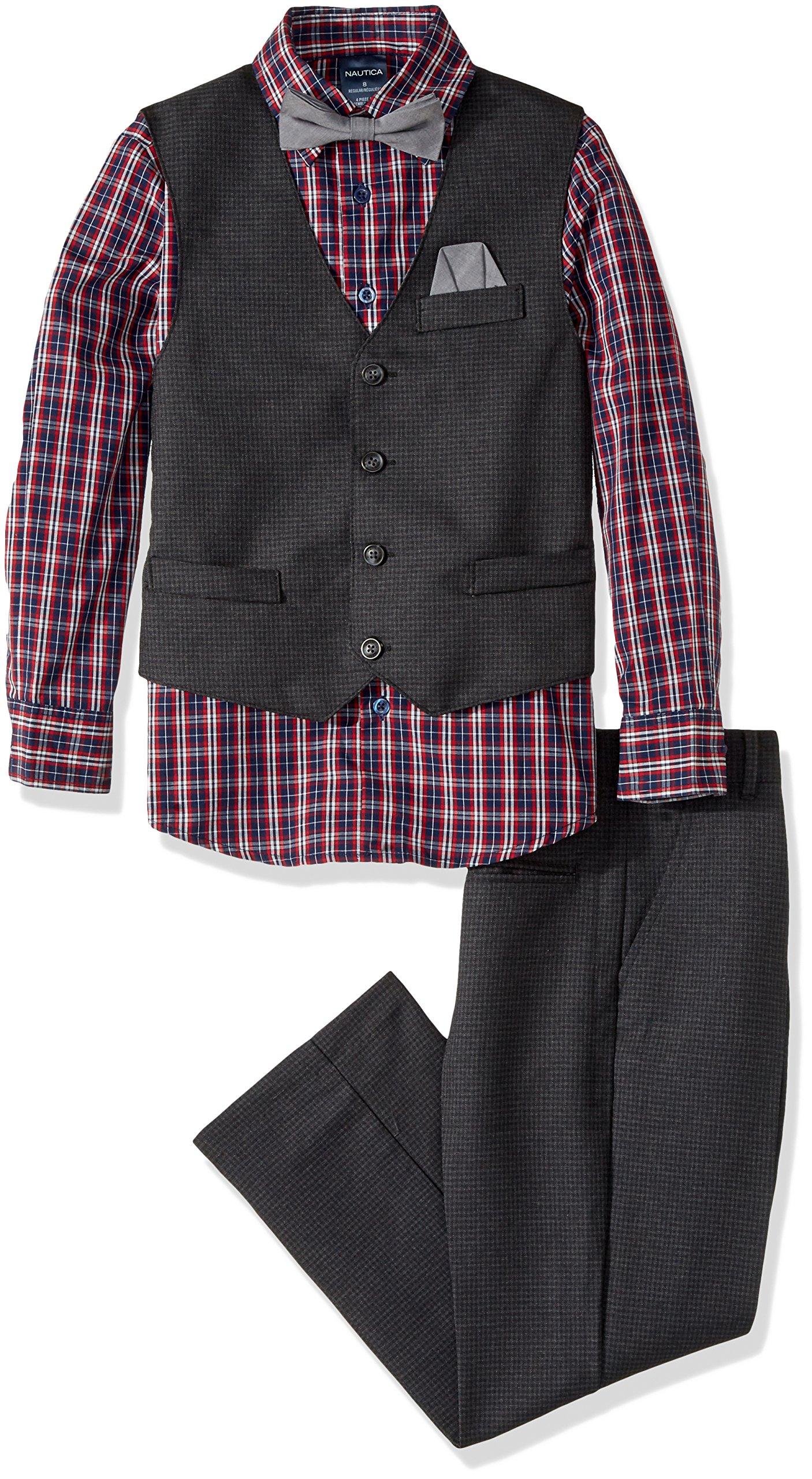 Nautica Big Boys' Set with Vest, Pant, Shirt, and Bow Tie, Black/Grey, 18