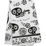 Karma Gifts Black and White Boho Tea Towel, Sugar Skull