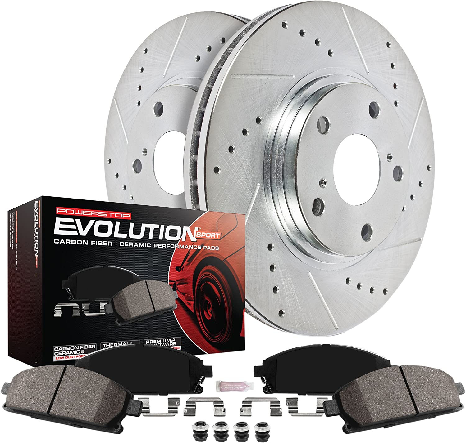 Power Stop K4102 Front and Rear Z23 Evolution Brake Kit with Drilled//Slotted Rotors and Ceramic Brake Pads
