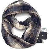 Travel Scarf with Zipper Pocket Knitting Plaid Tartan Scarves for Women Girls Ladies