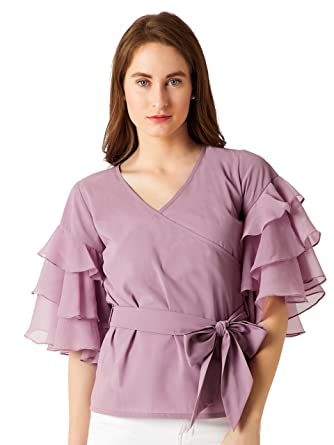 0babae8dd14e36 Miss Chase Women s Purple Tie-Up Belted Top(MCSS18TP11-18-70 ...