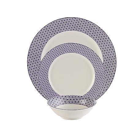 Hitkari Potteries Porcelain Dinner Set, 18-Pieces, Blue