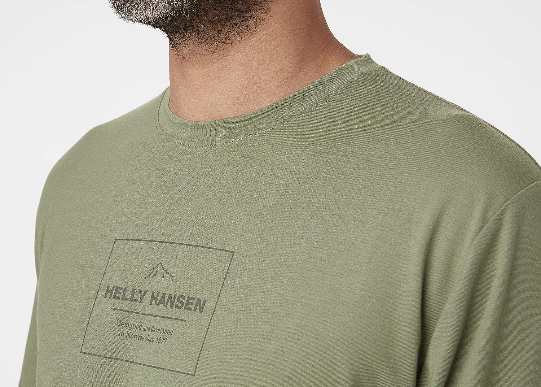 Color Verde Helly Hansen Camiseta para Hombre Skog Graphic Large Hombre Camiseta 62856