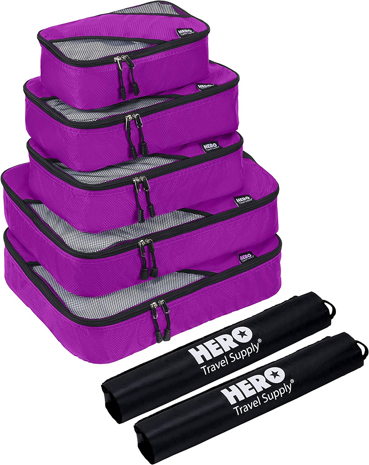 HERO Packing Cubes (5 Set) – Travel Organizers with 2 Bonus Laundry Bags