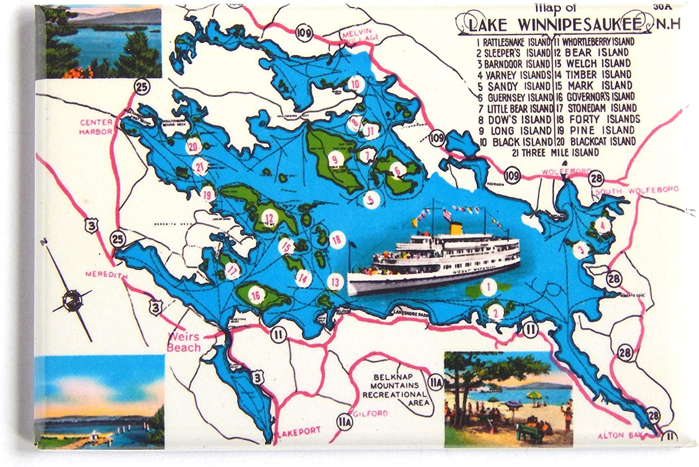 Lake Winnipesaukee New Hampshire Map Fridge Magnet (2 x 3 inches)