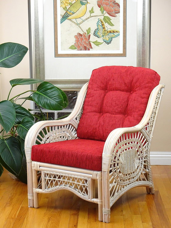 Malibu Design Natural Handmade Rattan Wicker Lounge Chair White Wash with Red Cushion
