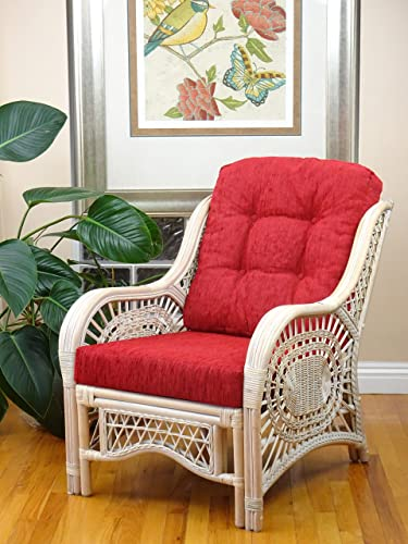 Malibu Design Natural Handmade Rattan Wicker Lounge Chair White Wash with Red Cushion