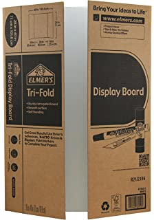 elmers tri fold display board white 28x40 inch
