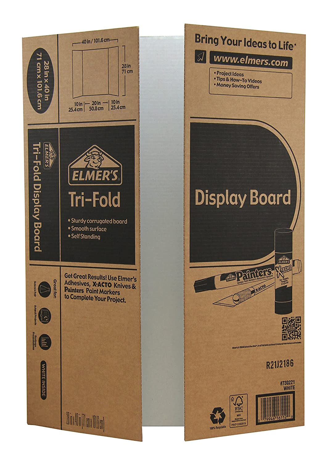 Elmer's Corrugated Tri-fold Display Board, 40 X 28 Inches, White Inside/Kraft Outside, 12-Pack (730221) White/Kraft Elmer Products
