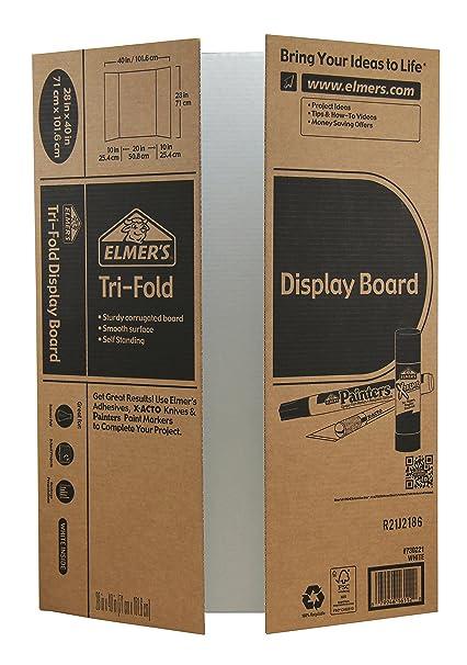 amazon com elmer s tri fold display board white 28x40 inch pack
