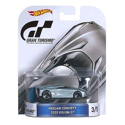 Hot Wheels Retro Entertainment Gran Turismo Nissan Concept 2020 Vision GT Die-Cast Vehicle 3/5, Silver: Toys & Games