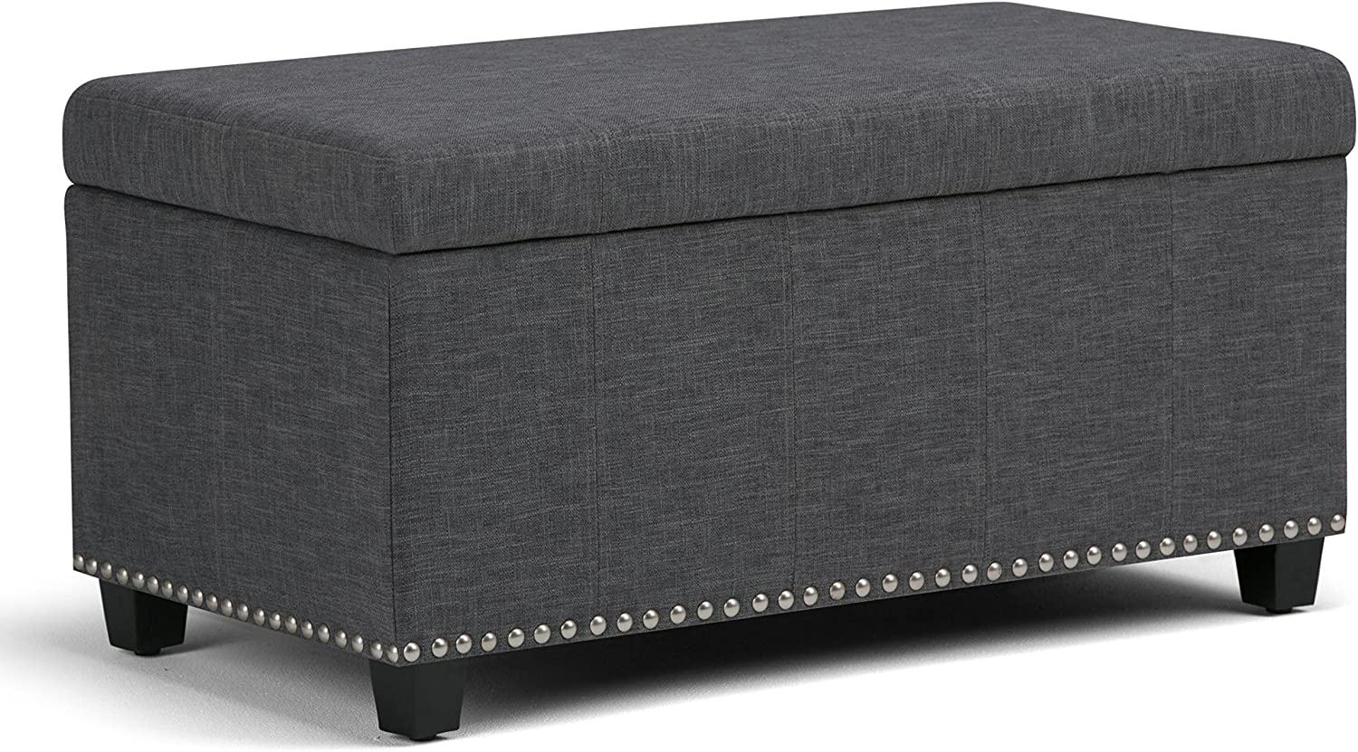 Simpli Home AXCOT-257-SGL Amelia 34 inch Wide Traditional Rectangle Storage Ottoman Bench in Slate Grey Linen Look Fabric