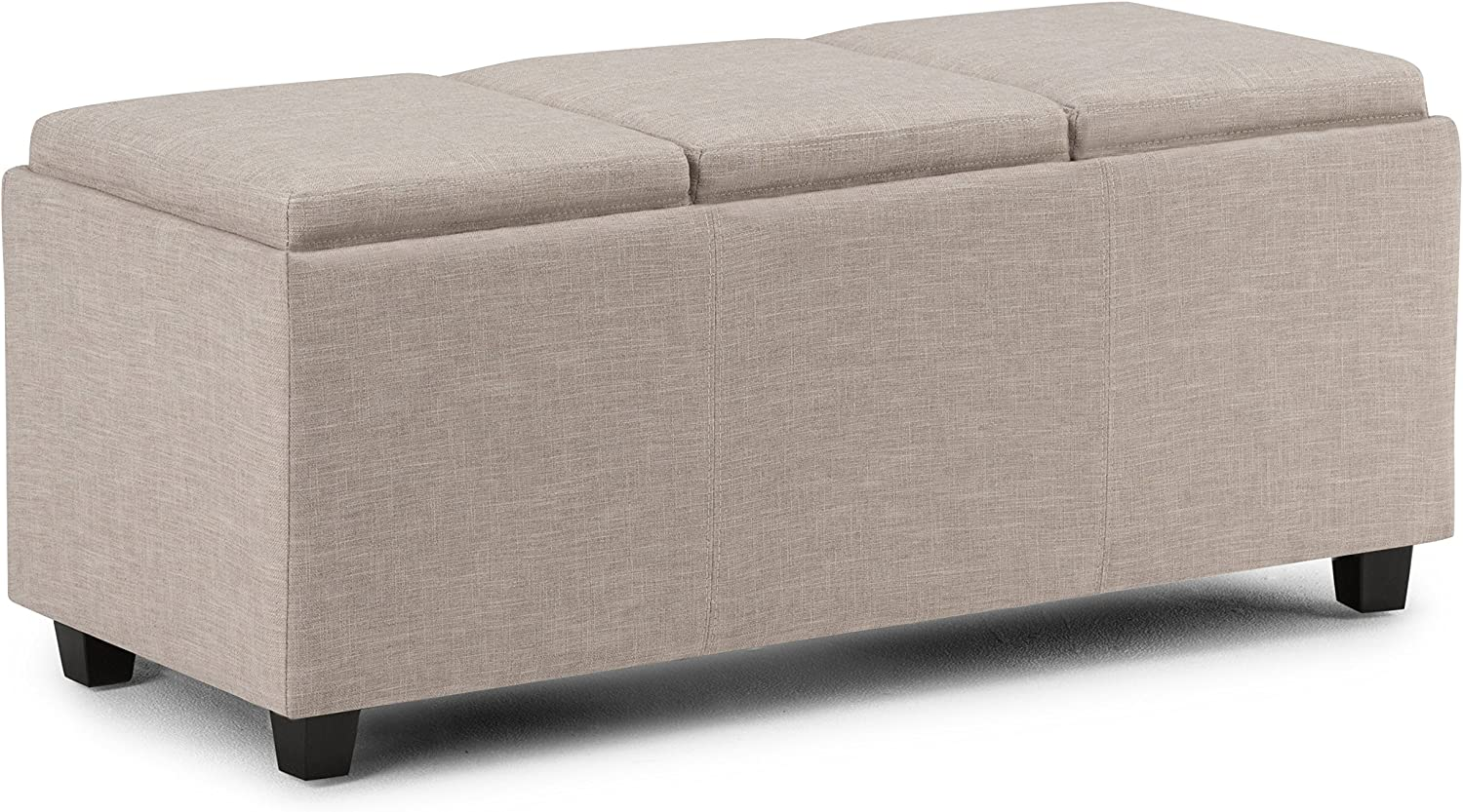 Simpli Home 3AXCAVA-OTTBNCH-02-NL Avalon 42 inch Wide ContemporaryStorage Ottoman in Natural Linen Look Fabric