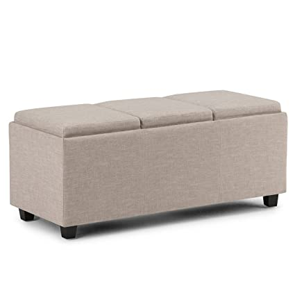 Simpli Home Avalon Rectangular Storage Ottoman With 3 Serving Trays, Natural