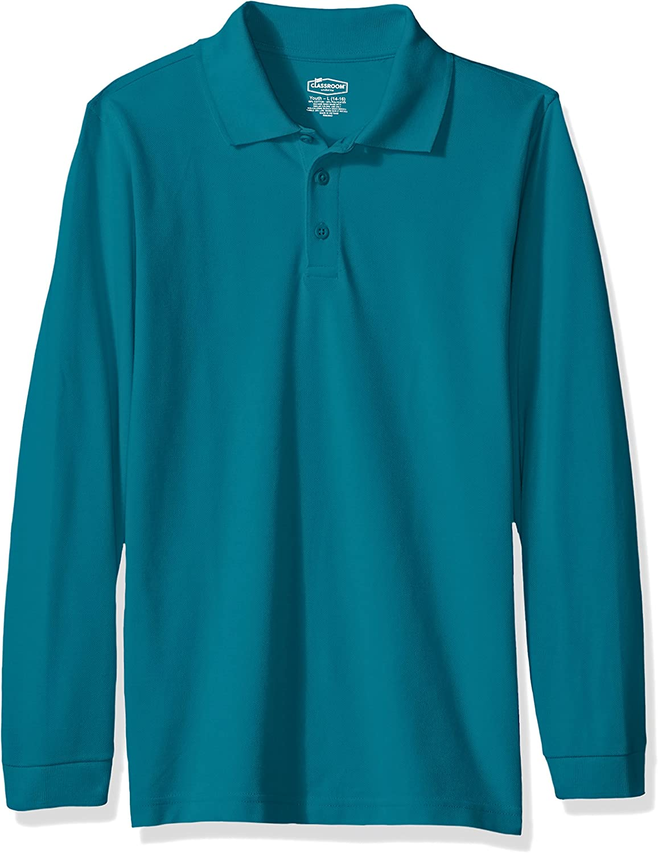 Hunter Green French Toast School Uniform Boys Long Sleeve Pique Polo Shirt