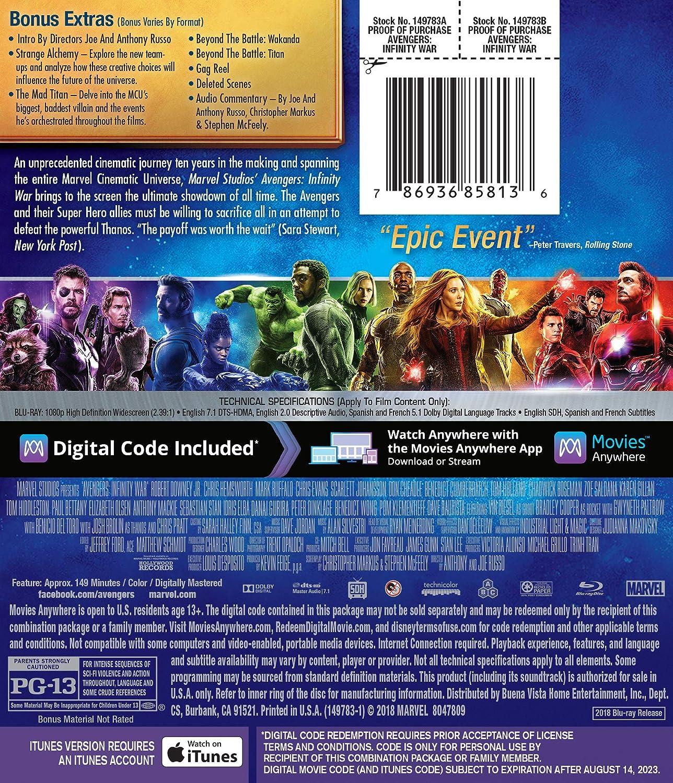 Amazon com: AVENGERS: INFINITY WAR [Blu-ray]: Robert Downey Jr
