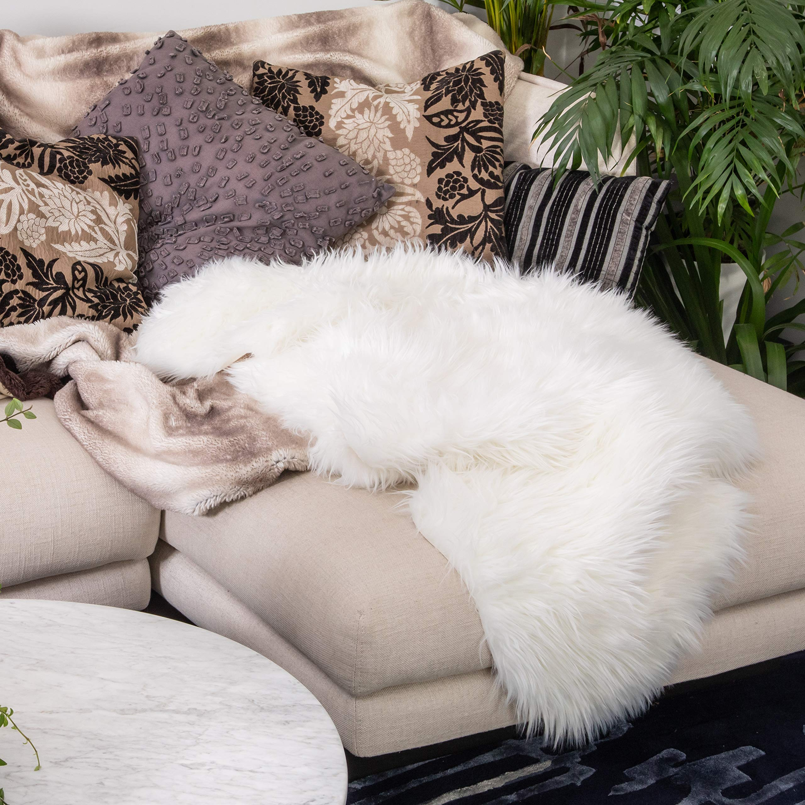Decorative Throw Rug/Blanket, Faux Fur Sheepskin, Ivory White - Furry Soft Throw with Non-Slip Suede-Like Backing - Animal Cruelty Free, Fur Rug, Cover for Area, Stool, Chair, Couch, Bed - Cloud
