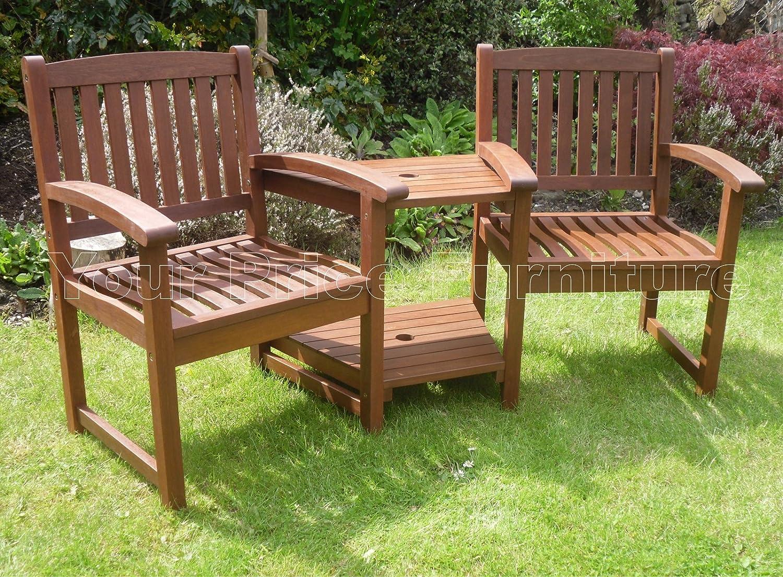 Henley Hardwood Garden Bench Companion Set Love Seat Great Outdoor