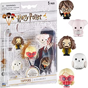 Harry Potter Pencil Toppers, Gifts, Toys, Collectibles – Set of 5 Harry Potter Figures for Writing, Party Decor – Harry Potter, Dobby, Luna Lovegood, Hedwig, & More by PMI, 2.4 in., Soft PVC