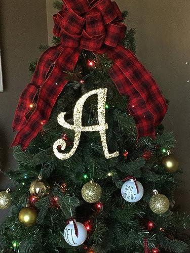 "8"" Decorative Gold Glitter Monogram Christmas Tree Topper, Letter  Wreath, Initial, Wedding - Amazon.com: 8"