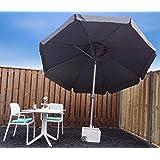 Parasol Garden Umbrella Sun Shading   Grey   ø 300 cm   Round   SORARA   Polyester 180 g/m² (UV 50+)   Crank, Tilt Mechanism (Excl. Base)