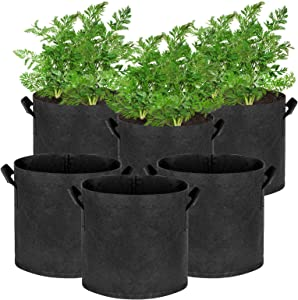 Hugro Tarfive 6 Pack 5 Gallon Grow Bags NonWoven Aeration Fabric Pots with Handles and Access Flap, Garden Vegetable Planting Bags for Potato Tomato and Fruits (5 Gallon)