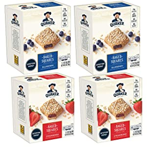 Quaker Breakfast Squares, Variety Pack, Blueberry & Strawberry, Pack of 4 Boxes, 5 Bars Per Box
