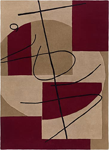 Surya Naya HST-3005 Contemporary Hand Tufted 100 New Zealand Wool Frappe 8 x 11 Abstract Area Rug