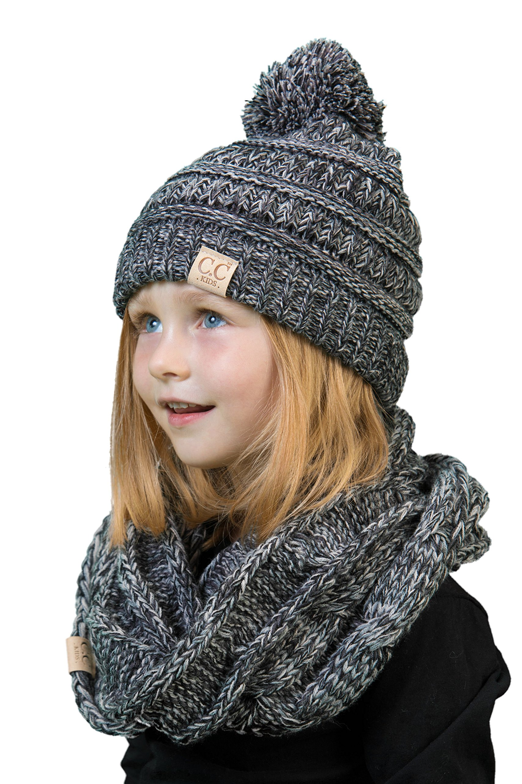 K1-6847-816.21 Kids Scarf & POM Beanie Matching Bundle Set - Grey/Black 4#31