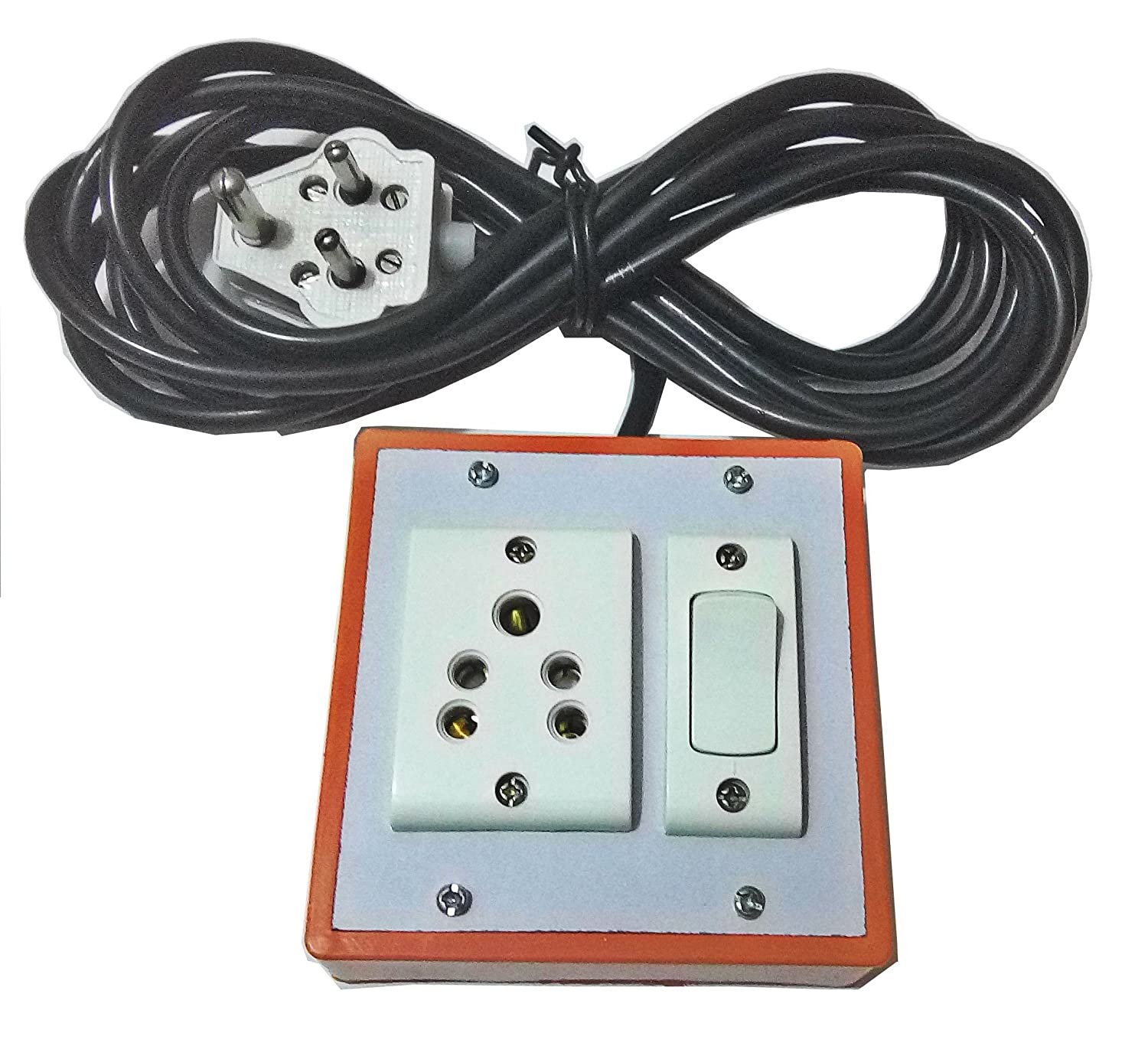 Srelectricals Spike Buster Electrical Extension Board 6amp With 1 Wiring Cord To Switch Socket Pvc 3 Mtr Core Cable Home