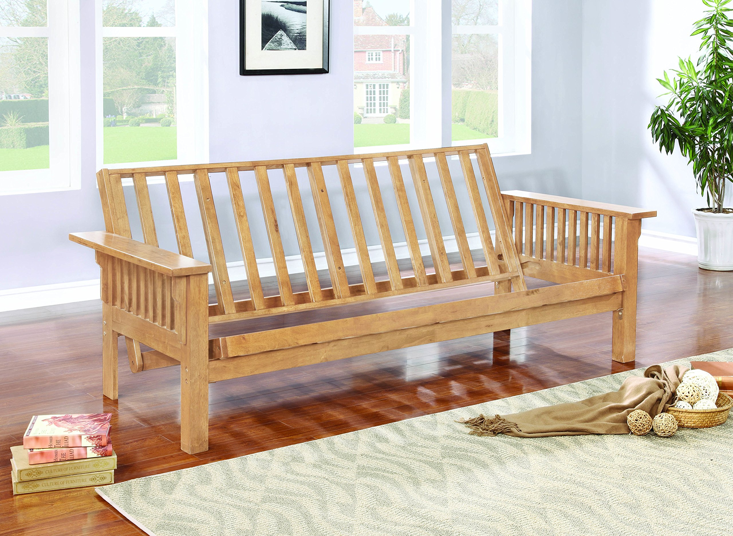 Coaster Casual Weathered Oak Futon Frame with Slat Side Detail by Coaster Home Furnishings