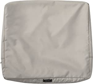 Classic Accessories Ravenna Water-Resistant 25 x 22 x 4 Inch Patio Back Cushion Slip Cover, Mushroom