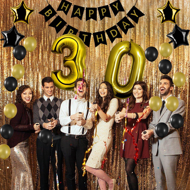 Czemo Decoración Cumpleaños 30 Años Kit de Decoraciones de la Fiesta de Cumpleaños + Bandera del Feliz Cumpleaños + Globos de Látex + Globo Número 30 ...
