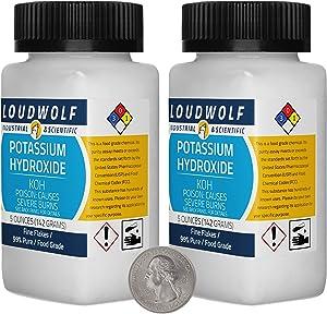 Potassium Hydroxide / 10 Ounces / 2 Bottles / 99% Pure Food Grade/Fine Flakes/USA