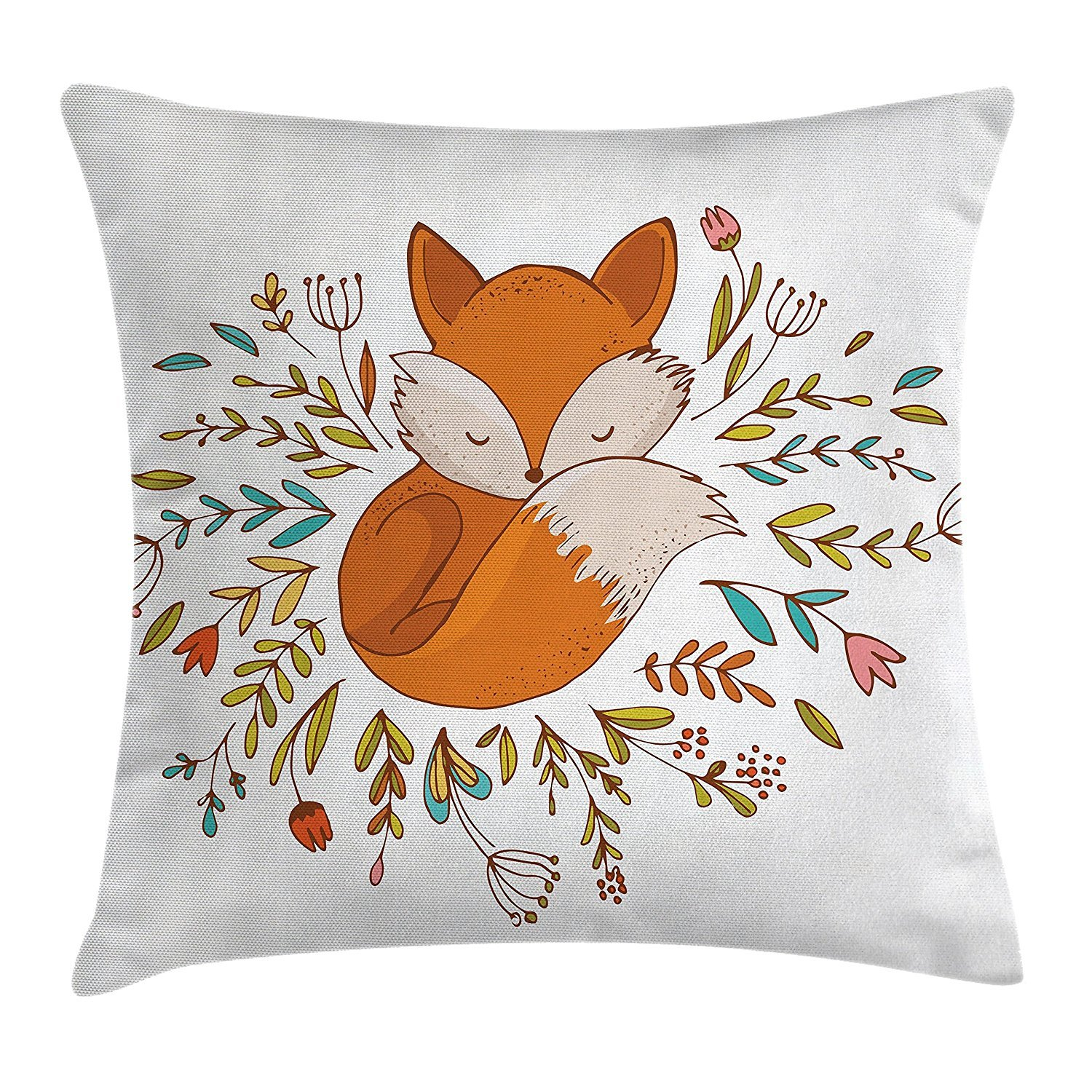 Cartoon Throw Pillow Cushion Cover, Cute Baby Fox Sleeping in a Floral Made Bed Circle Art Print, Decorative Square Accent Pillow Case, 18 X 18 inches, Dark Orange White Teal Coral Cool pillow
