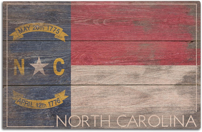 Lantern Press Rustic North Carolina State Flag (12x18 Wood Wall Sign, Wall Decor Ready to Hang)