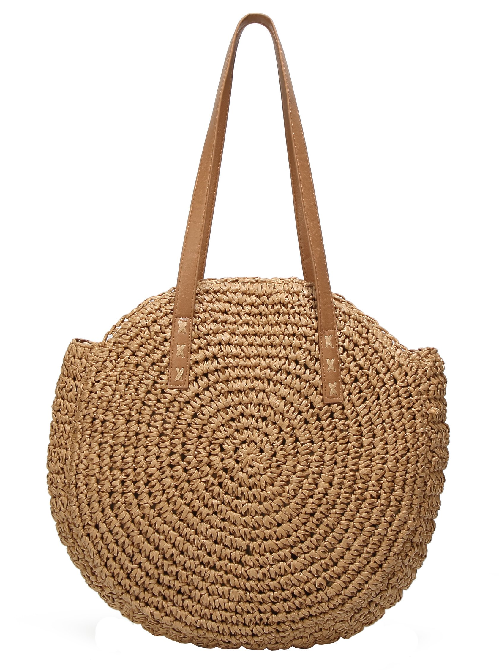 Molodo Summer Straw Handbags Top Handle Crossbody Shoulder Satchels Tote Beach Purse Bags Camel