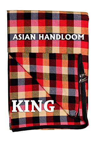 ASIAN HANDLOOM Cotton Mattress Cover for King Size Double Bed with Zip, 78x72x5 inch (Multicolour)